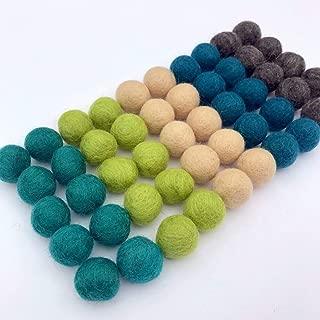 "Wildflower by Hu Hands 100% Handmade Wool Felt Pom Poms - Island Cove - (50) Pure New Zealand Wool Felt Balls - DIY Pompoms - 0.8-1.0"" Size - Drawstring Muslin Bag"