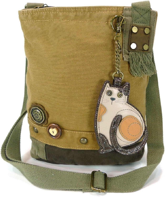 Chala Handbag Patch Crossbody LAZZY CAT Bag Brown