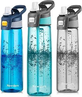 comprar comparacion Newdora Botella de Agua Deportiva 750ml/24oz con Pajita y Cepillo de Limpieza - Libre de BPA y Tapón a Prueba de Fugas p...