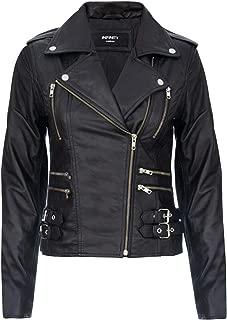 Ladies Retro 100% Nappa Leather Biker Jacket