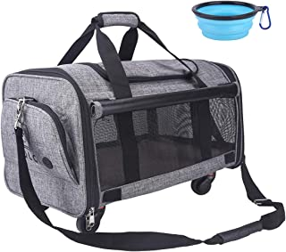 NOYAL Pet Carrier Airline Approved, Soft-Sided Dog Travel Carriers with Removable Wheels Perfect for Cats Pups & Small Ani...