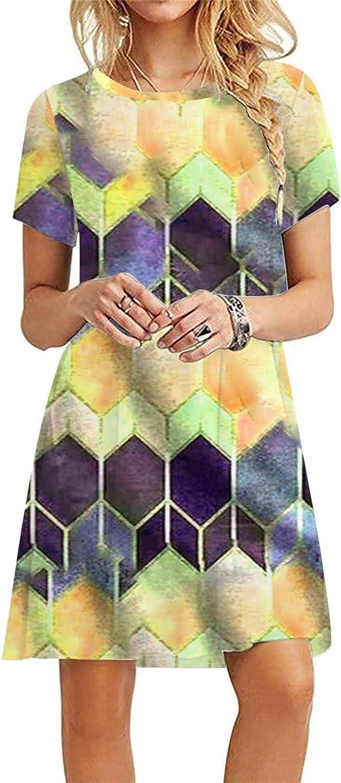 Aritone Womens Short Sleeve Loose Floral Dress Maxi Dresses Casu