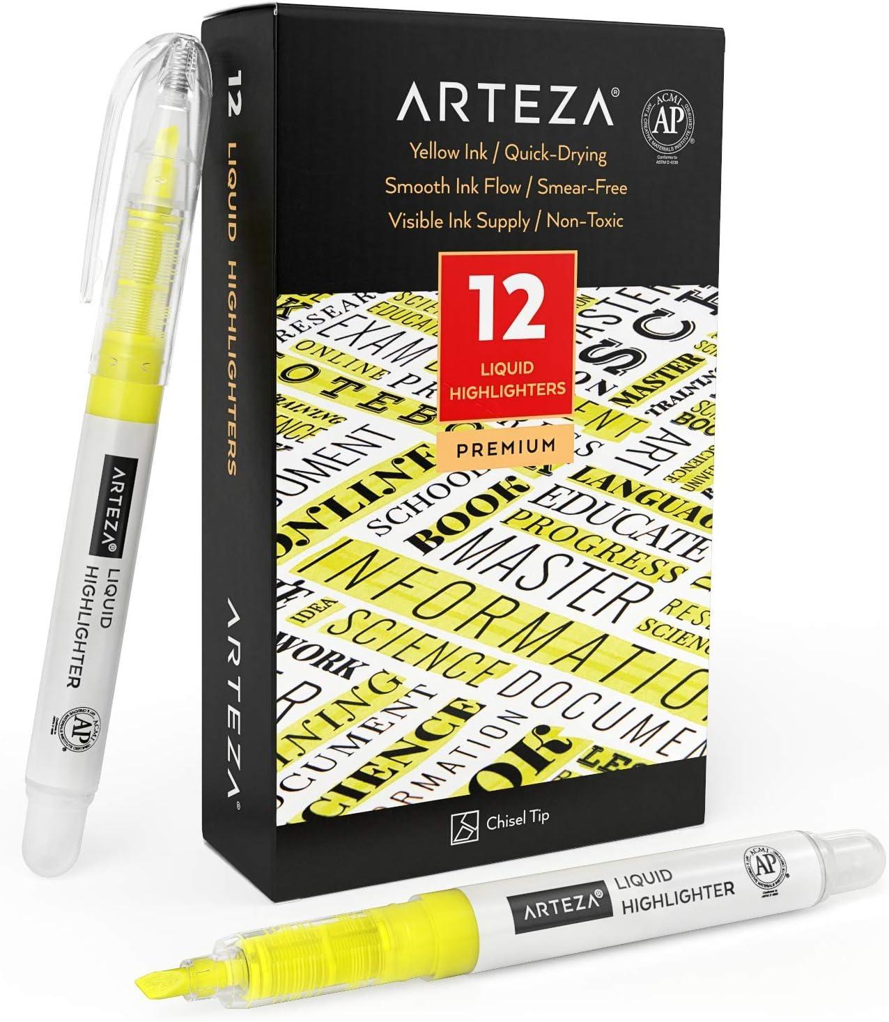 Arteza Liquid Highlighter Pens Set of Tip Popular brand in the world Bu 12 Tulsa Mall Chisel Narrow