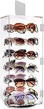 Mooca Acrylic Lockable Rotating Eyewear Display Rack Holder Stand with Mirror, 24 Frames