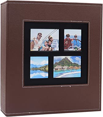 AXEARTE Photo Album 4x6, 600 Family Photo Album Book, Extra Large Capacity PU Leather Cover Sewn Bonded Wedding Baby Kids Memories Picture Ablums, 5 Per Page Horizontal and Vertical (Brown)