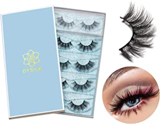 DYSILK 5 Pairs 6D Mink Eyelashes Faux Cross Fluffy Natural Look False Eyelashes Wispies Long Extension Eyelashes Pack Make...