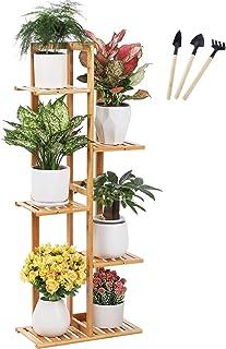 BRITOR Bamboo Ladder Plant Stand Shelf,5 Tier 6 Potted Plant Stand Rack Multiple Flower Pot for Bedroom, Corner Balcony Li...