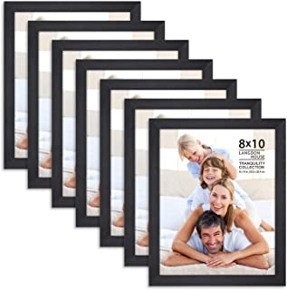 Langdon House 8x10 Picture Frame Set (7 Pack, Black), Fabulous Black 8x10 Frames, Swivel Tabs, Tabletop Easel and Wall Hang Hardware Included, Tranquility Collection