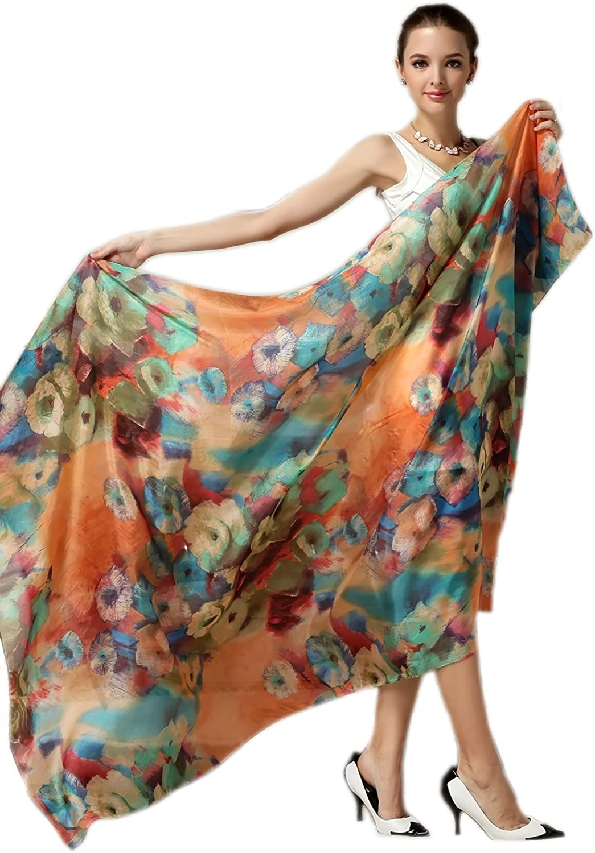 Women Fashion Silk Scarf Oblong Floral Oversize Soft Shawl Beach Wrap