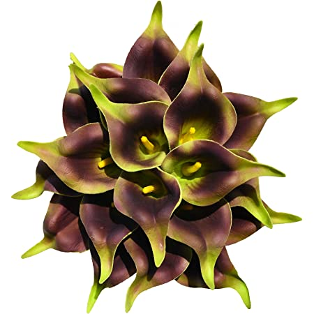Only Art 20pcs Artificial Grass Green Calla Lily Flowers with Soft Latex Materials for Home Kitchen Decoration