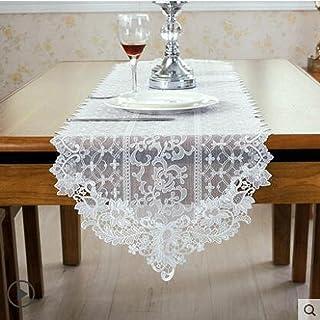 Xiaoahua Chemin de Table brodé Dentelle Blanche Drapeau Simple Belles Fleurs Chemin de Table Pastoral Couverture de Table ...