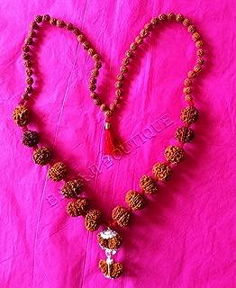 Siddha (Rudraksha) Mala in Silver - 1,2,3,4,5,6,7,8,9,10,11,12,13,14 Face (Mukhi) Rudraksha includes Gauri-Shankar and Ganesh Rudraksha (Origin: Nepal, Excellent Large Beads)