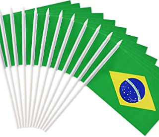 Anley Brazil Stick Flag, Brazilian 5x8 inch Handheld Mini Flag with 12