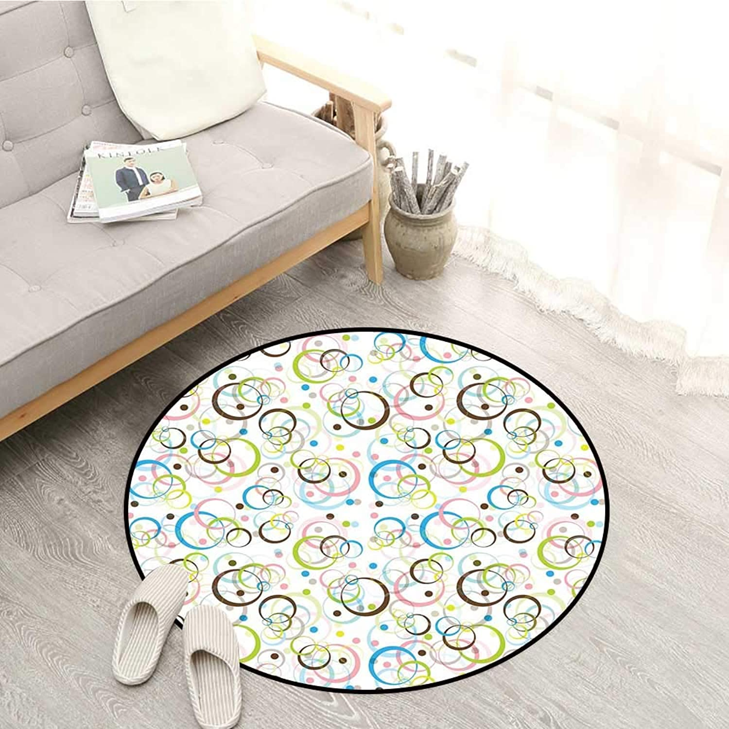 Brown and bluee Living Room Round Rugs Intertwined Circles Traditional Polka Dots Pattern Abstract Graphic Design Sofa Coffee Table Mat 3'11  Multicolor