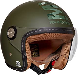 Royal Enfield Battle Green Open Face with Visor Helmet Size (XL)62 CM (RRGHEI000062)