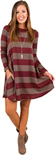 Women Casual Long Sleeve Dress Mid-Thigh O-Neck Wide Stripes Loose Dresses with Pockets