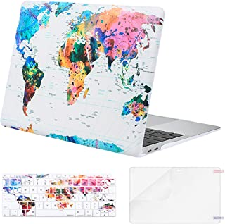 MOSISO MacBook Air 13 inch Case 2019 2018 Release A1932 with Retina Display, Plastic Pattern Hard Shell & Keyboard Cover & Screen Protector Only Compatible with MacBook Air 13, World Map White Base