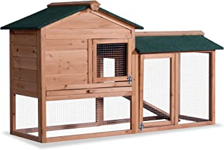 Lovupet 58'' Deluxe Wooden Chicken Coop Hen House Outdoor Backyard Garden Bunny Rabbit Hutch with Ventilation Door, Removable Tray and Ramp 1305