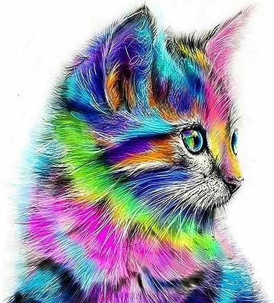 5D Diamond Painting Kits, DIY Rhinestone Embroidery Cross Stitch Arts Craft for Home Wall Decor Cute Cat 12x12 inch