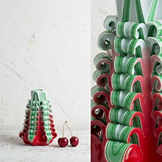 Colori da albero di Natale - Rosso Leggero Verde e Bianco - Candela decorativa intagliata a Mano - EveCandles