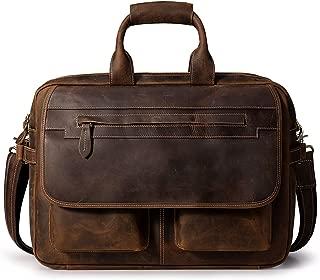 S-ZONE Crazy Horse Leather Briefcase Mens Messenger Shoulder Bag for 16 Inch Laptop Bag