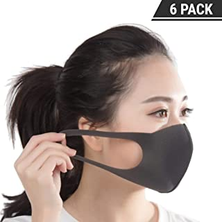 Anti Dust Face Mouth Cover Mask Respirator | 6-Pack, Black