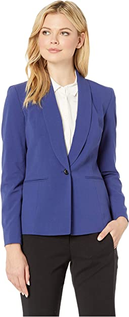 One-Button Shawl Collar Stretch Jacket