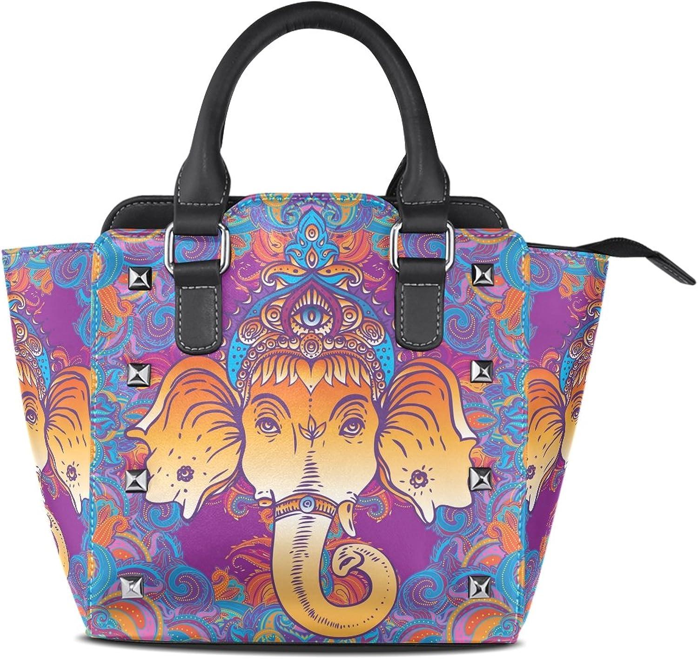 Sunlome Hindu Lord Ganesha Print Handbags Women's PU Leather Top-Handle Shoulder Bags