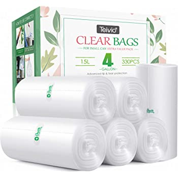 330 Counts Strong Trash Bags Garbage Bags by Teivio, Bathroom Trash Can Bin Liners, Small Plastic Bags for home office kitchen (4 Gallon)