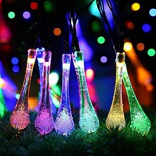 EOYIZW Solar String Lights Outdoor Patio Party Lights String 20ft 30LEDs Fairy Lights with USB Charging Waterproof Teardrop Light Decorative for Christmas Backyard Garden Xmas Festivals Light 1 PCS