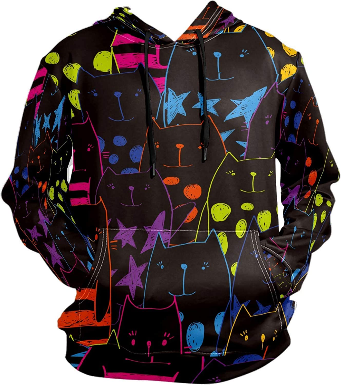Men's Sport Hoodie Hand Drawn Colorful Cute Cat Big and Tall Hoodies for Men Women Oversized Hooded Sweatshirt Hip Hop Pullover Hoodie Midweight Hood for Boys Girls