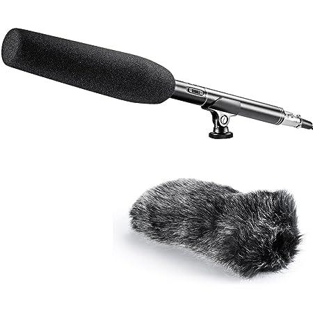 Neewer Mono Microfono a Condensatore Shotgun a Fucile 36cm Unidirezionale Professionale con Cappuccio Antivento Parabrezza Pelosa per Fotocamere DSLR Videocamere Canon Nikon Sony