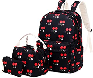 FLYMEI School Backpack for Girl, Causal Book Bag for Teens, Lightweight Travel Backpack with Lunch Bag, 15.6 inch Laptop Bag - Cute Cherry Bag