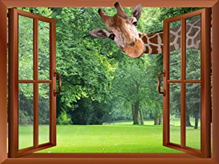 wall26 - A Giraffe Sticking its Head into an Open Window | Removable Wall Sticker/Wall Mural - 36