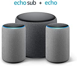 Echo Sub Bundle with 2 Echo (3rd Gen) Devices - Heather Gray Fabric