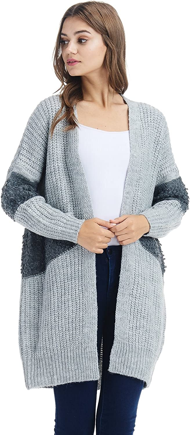 Alexander + David Womens Oversized Contrast Cardigan Sweater  Fall Long Knit