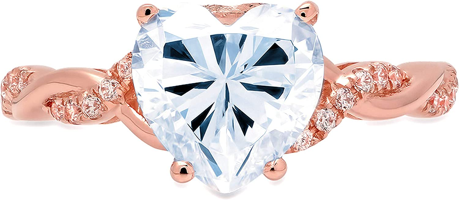 2.16ct Heart Cut Criss Cross Twisted Solitaire Halo Natural Swiss Blue Topaz Gemstone VVS1 Classic Modern Statement Ring Solid 18k Rose Gold Clara Pucci