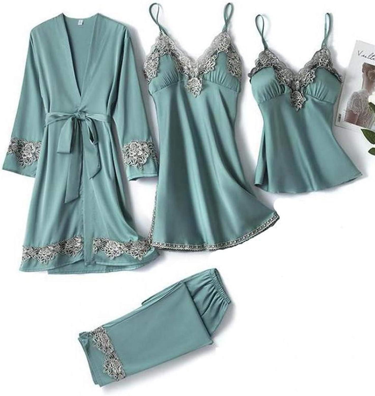 WANGJINQIAO 5pcs Sleepwear Female Robe Kimono Dress Sexy Patchwo