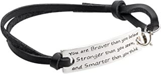Inspirational Jewelry Bracelet – You are Braver & Stronger Than You Think Quote – Silver Charm Wrap – Engraved Sayings for Inspiration, Motivation for Women, Men, Teens, Girls.