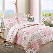 3PCS Bedspread Quilted Quilt Blankets Pastoral Style Printed Fashion Patchwork Coverlets Throw with Pillow Shams Double Be...