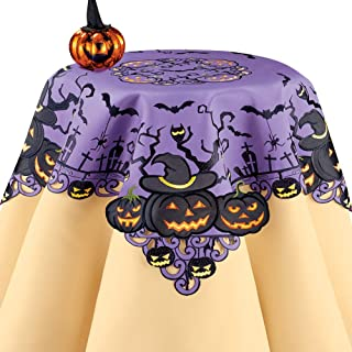 Festive Jack-O-Lantern Purple Halloween Table Linens Features Creepy Trees, Bats, Spiders, and Owls with Intricate Cutouts and Scalloped Edges