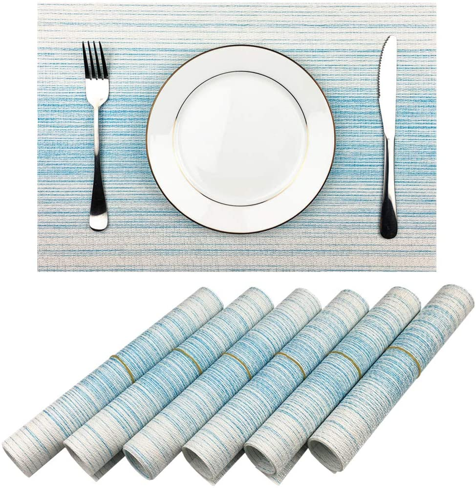 New life Now on sale Placemat Blue and White Blending Color Durable Vinyl Woven Place