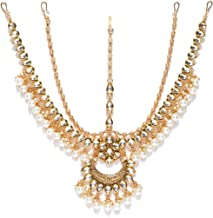 Joyeria Zircon Fashion Indian Traditional Wedding Style Gold Plated with Pearl Matha-Patti Head Accessiories