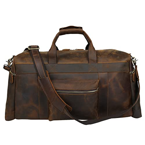 Polare 23   Duffle Retro Thick Cowhide Leather Weekender Travel Duffel Luggage  Overnight Bag 690a51d600c5b