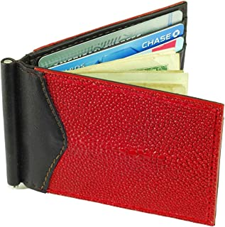 Money Clip Wallet, Stingray Leather, ID Holder, 3 CC Slots, Red/Brown