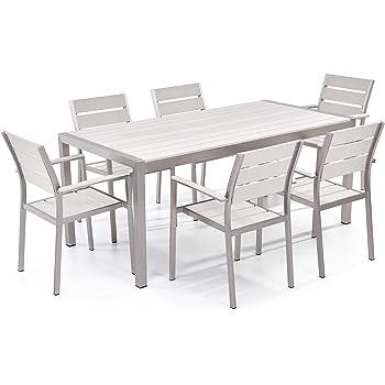 Set di Tavolo e sedie da Giardino in Alluminio e Legno