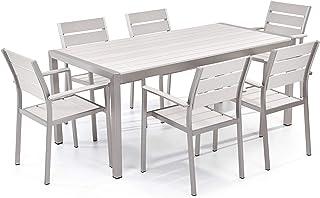 Conjunto de jardín en aluminio - Mesa 180 cm - 6 sillas - Blanco - VERNIO