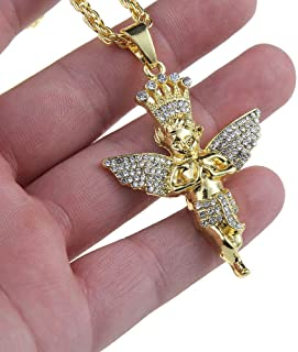 Mens Hip Hop Gold Plated Crystal Bling Baby Angel Pendant 27.5 Chain Necklace