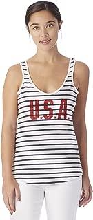 Alternative Women's USA Graphic Eco Jersey Castaway Tank Top, Midnight Riviera Stripe