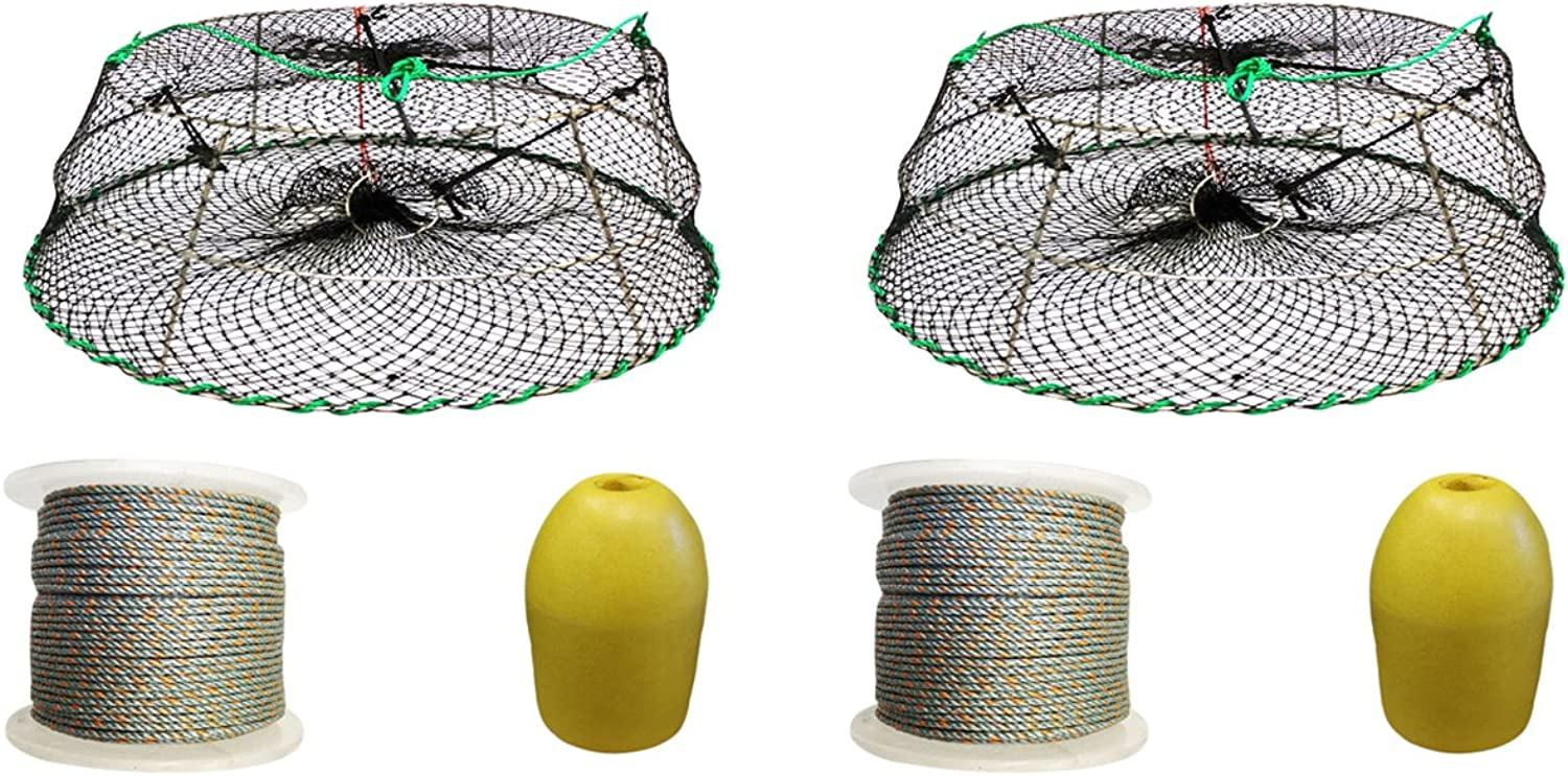 2 Pack of Tower Style Stainless Steel Prawn Trap with 1 4  x400' Lead Rope, 14  Bullet Float and Bait Jar Combo (CT76+LQ4+F13Y+HB5) x2